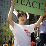 "Chinese Supporter in Manhattan - ""We Love Peace"""